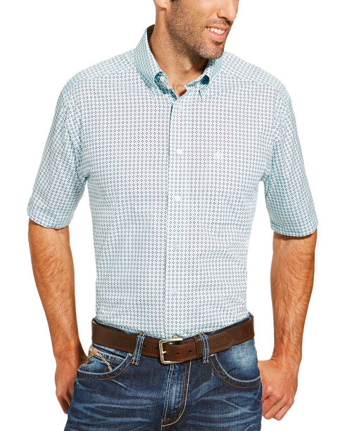 Ariat Men's Light Blue Freeport Print Short Sleeve Shirt, Light Blue, hi-res