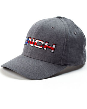 Cinch Men's American Flag Embroidery Logo Flexfit Cap, Heather Grey, hi-res