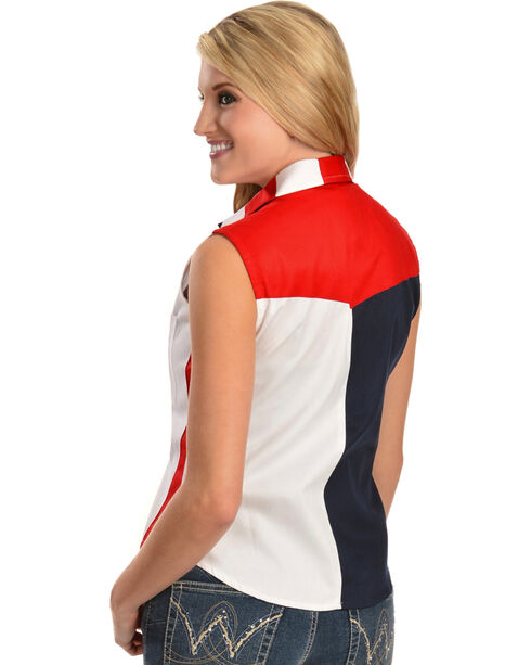 Scully Women's Stars & Stripes Sleeveless Western Shirt, Red, hi-res