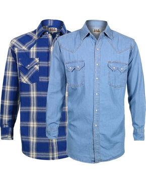 Ely Cattleman Men's Assorted 2 Pack Shirts, Indigo, hi-res