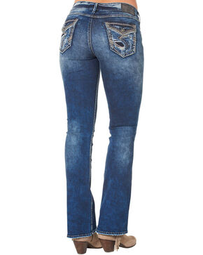"Silver Women's Elyse Mid Dark Wash Bootcut Jeans - 33"" Inseam, Blue, hi-res"