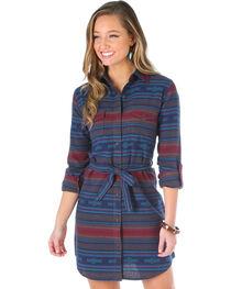 Wrangler Women's Aztec Flannel Shirt Dress, , hi-res