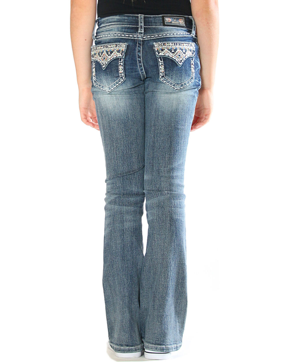 Grace in LA Girls' Blue Aztec Bling Pocket Jeans - Boot Cut , Blue, hi-res