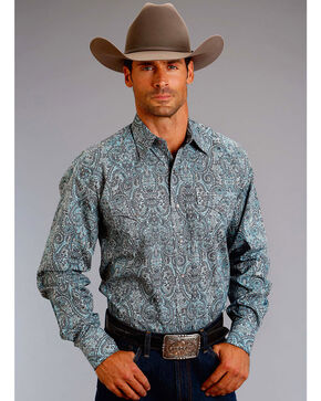 Stetson Men's Printed Western Long Sleeve Shirt, Blue, hi-res