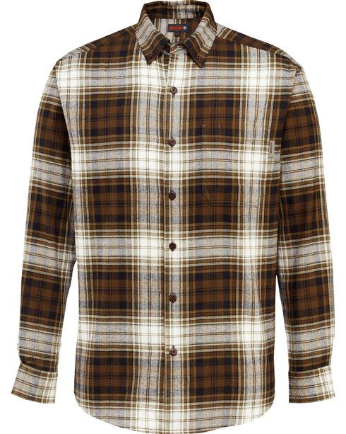 Wolverine Men's Rogan Plaid Flannel Shirt , Brown, hi-res