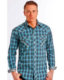Rough Stock by Panhandle Slim Teal Plaid Barrow Western Shirt , , hi-res