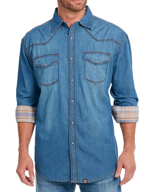 Cowboy Up Men's Thick Stitch Chambray Western Shirt, Indigo, hi-res