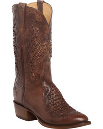 Lucchese Men's Aiden Chocolate Woven Leather Inlay Western Boots - Round Toe, , hi-res