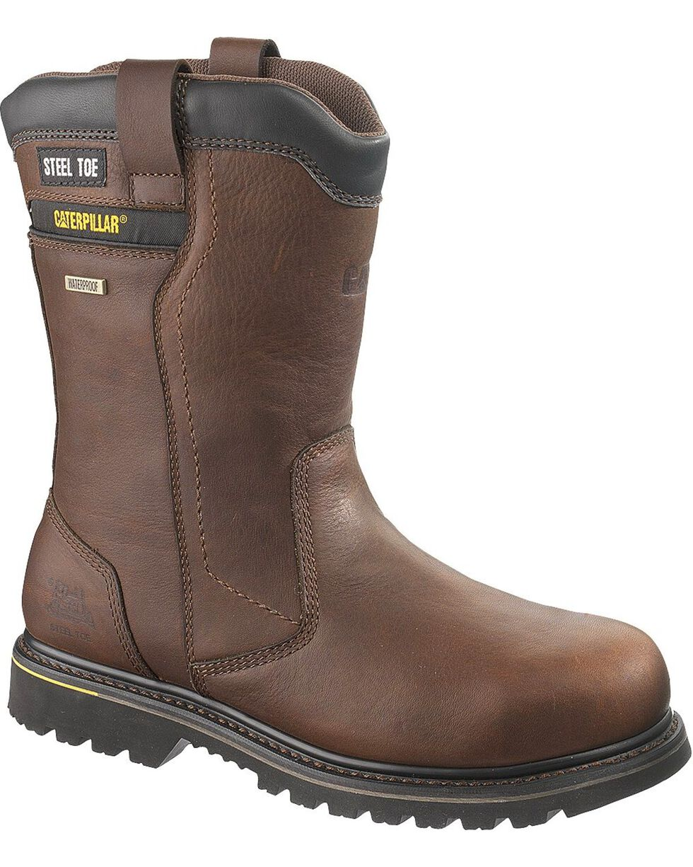 CAT Men's Waterproof Elkhart Work Boots, Oak, hi-res