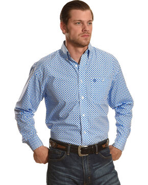 Wrangler George Strait Men's White/Bluegrass Long Sleeve Button Down Shirt - Big & Tall, Blue, hi-res