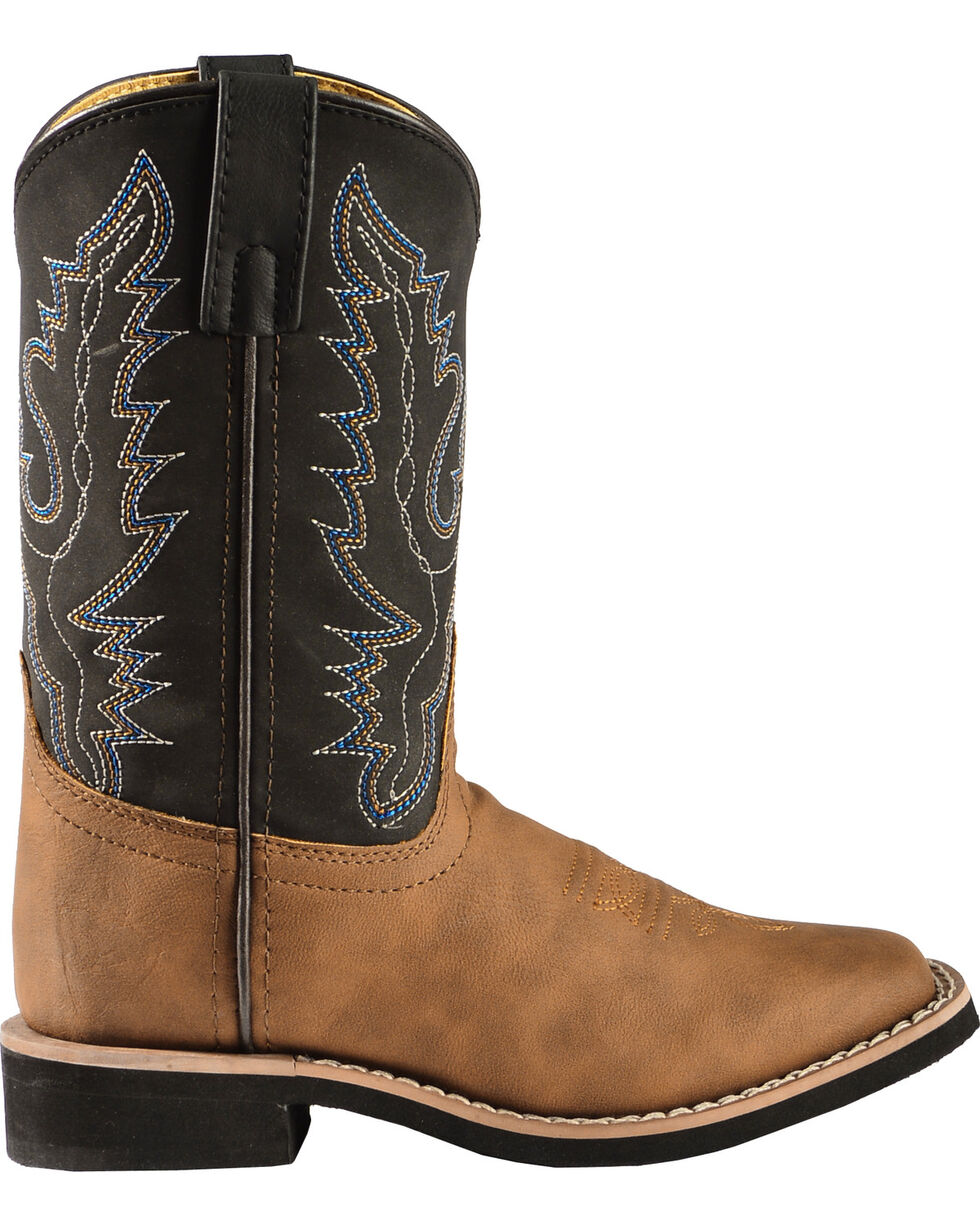 Swift Creek Youth Boys' Black and Tan Cowboy Boots - Square Toe, , hi-res
