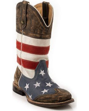 Roper Kid's Americana Flag Square Toe Western Boots, Brown, hi-res
