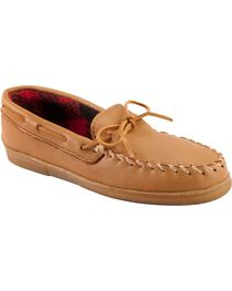 Minnetonka Genuine Moose with Fleece Lining Moccasins - XL(14-16), Natural, hi-res