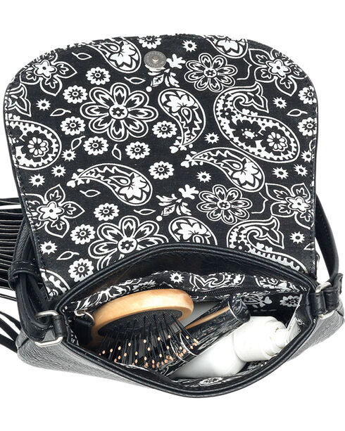 Bandana by American West Austin Black Fringe Flap Wallet Bag , Black, hi-res