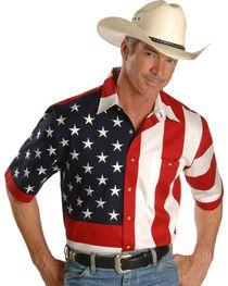 Scully Men's Rangewear USA Flag Western Shirt, , hi-res