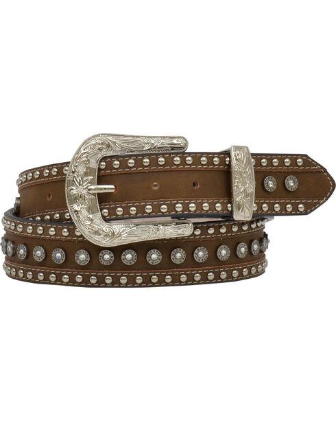 Angel Ranch Women's Gun Shell Concho Leather Belt, Brown, hi-res