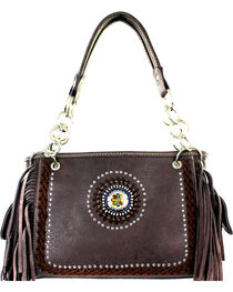Montana West Coffee Fringe Collection Satchel, , hi-res