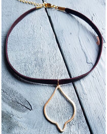 Jewelry Junkie Women's Gold Vermeil Diamond Leather Choker , , hi-res