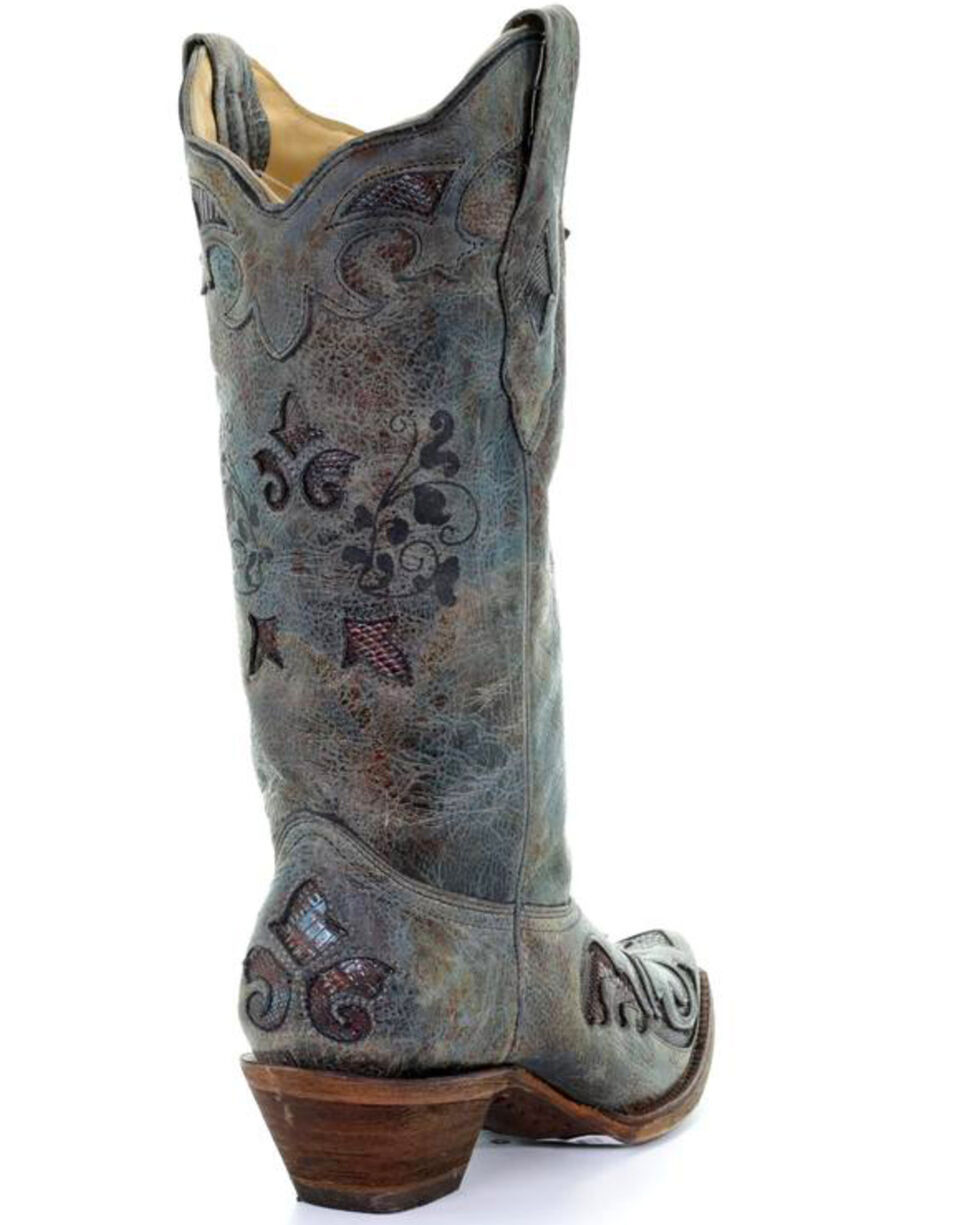 Corral Women's Turquoise Teju Lizard Inlay Cowgirl Boots - Snip Toe, Black, hi-res