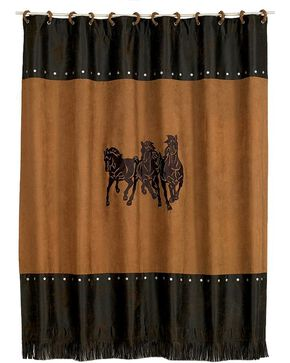 HiEnd Accents Three Horses Shower Curtain, Multi, hi-res