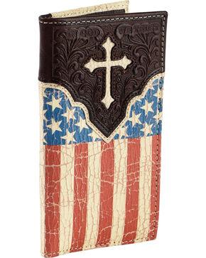 Cody James Men's Crackled American Flag Wallet, Brown, hi-res