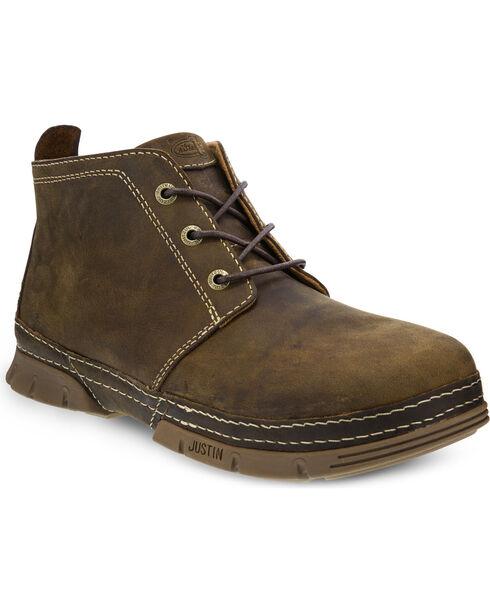 Justin Men's Tobar Steel Toe Work Shoes, Brown, hi-res