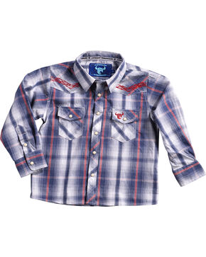 Cowboy Hardware Toddler Boys' Plaid Barbwire Long Sleeve Shirt, Blue, hi-res