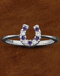 Kelly Herd Sterling Silver CZ Horseshoe Ring, , hi-res