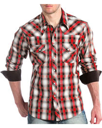 Panhandle Men's Black and Red Plaid Snap Shirt, , hi-res