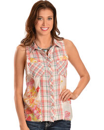 Miss Me Women's Plaid Sleeveless Shirt, , hi-res