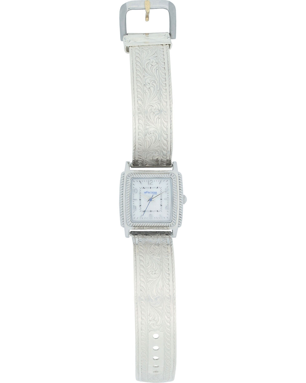 Montana Silversmiths Dress Western Rectangular Rope Face Watch, Silver, hi-res
