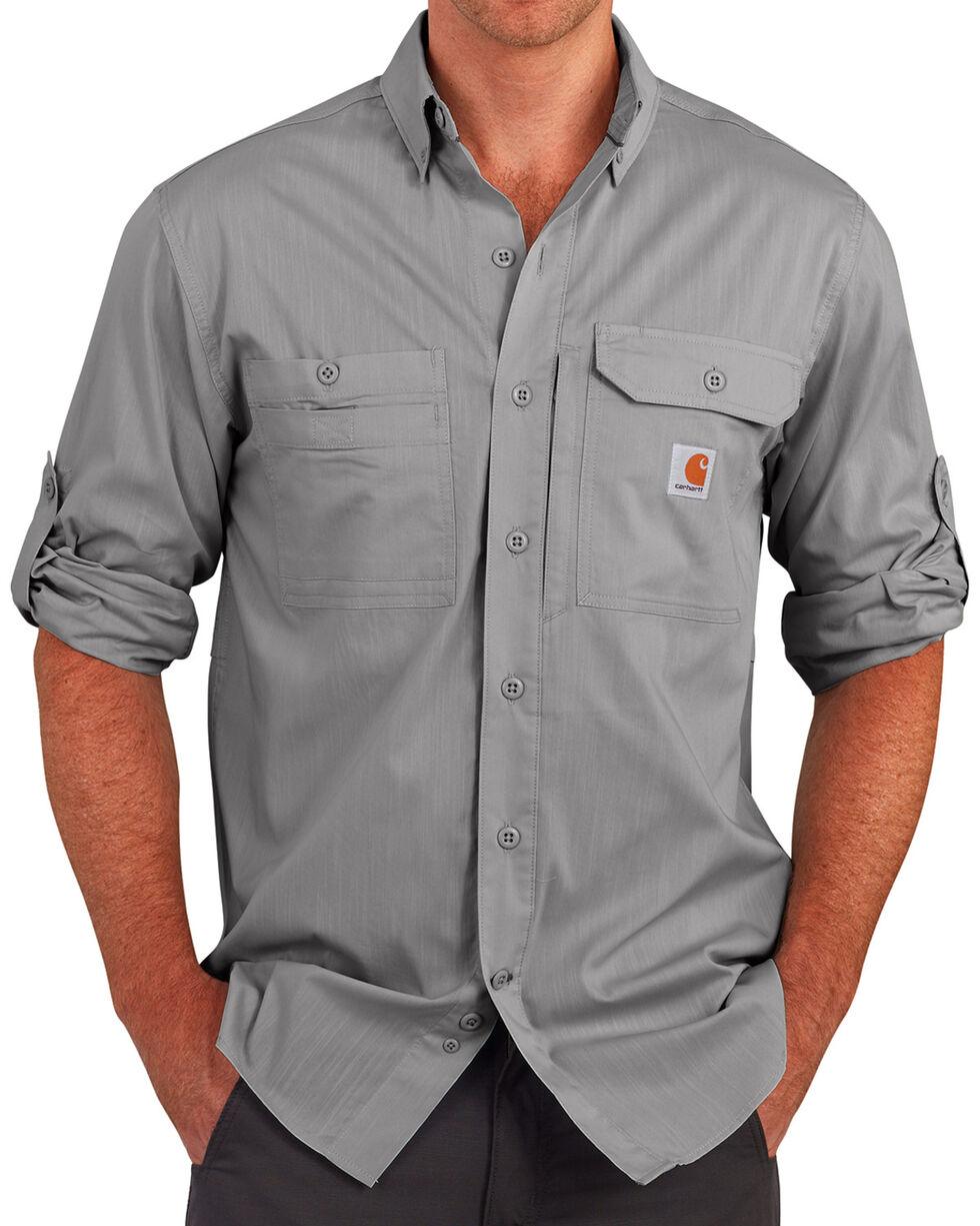 Carhartt Men's Charcoal Grey Force Ridgefield Solid Long-Sleeve Shirt - Big and Tall, Charcoal Grey, hi-res