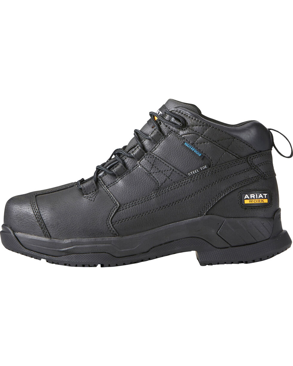 Ariat Men's Contender H2O Waterproof Work Boots - Steel Toe, Black, hi-res