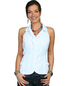 Scully Halter Tie Sleeveless Top, White, hi-res