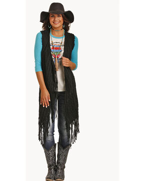 Panhandle Women's Slim Fringe Sweater Vest , Black, hi-res