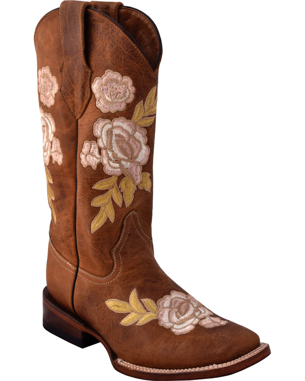 Ferrini Women's La Flor Embroidered Cowgirl Boots - Snip Toe, Lt Brown, hi-res
