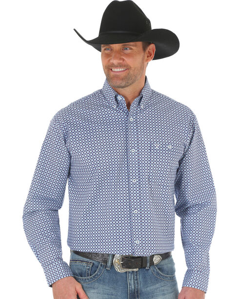 Wrangler 20X Men's Blue/Light Blue Advanced Comfort Competition Shirt, Blue, hi-res