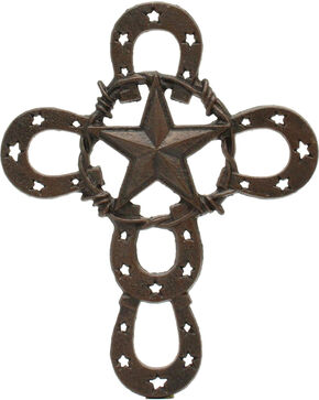 M&F Horseshoe & Star Cross Wall Decor, Brown, hi-res