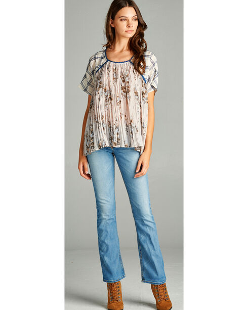 Hyku Women's Navy Plaid Mix Crinkle Flower Top, Navy, hi-res