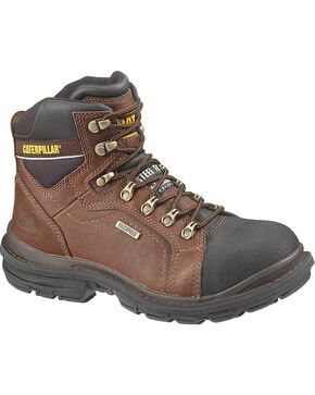 "Caterpillar 6"" Manifold Waterproof Lace-Up Work Boots - Steel Toe, Oak, hi-res"