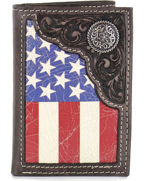 Cody James® Men's American Flag Tri-Fold Wallet, Tan, hi-res