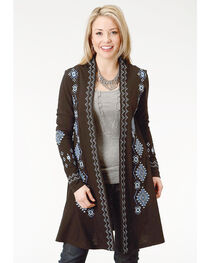 Roper Women's Studio West Blue Angel Long Line Embroidered Cardigan, , hi-res