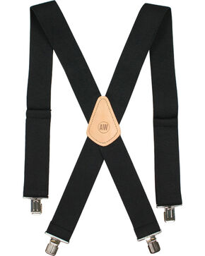 American Worker Men's Black Suspenders, Black, hi-res