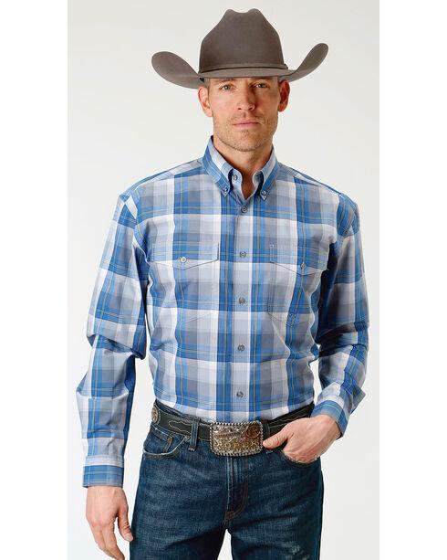 Roper Men's Crystal Blue Plaid Long Sleeve Button Down Shirt, Blue, hi-res