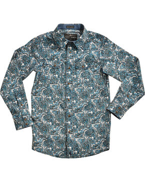 Cody James® Boys' Paisley Patterned Long Sleeve Shirt , Blue, hi-res