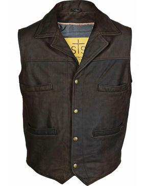 STS Ranchwear Men's Leather Ace Vest, Brown, hi-res