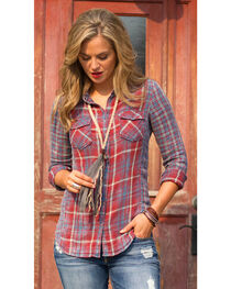 Ryan Michael Women's Double Face Plaid Shirt , , hi-res