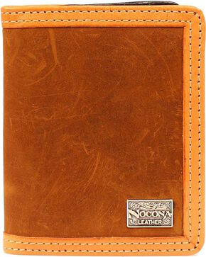 Nocona Two-Tone Leather Trim Bi-Fold Wallet, Brown, hi-res
