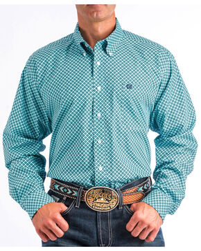 Cinch Men's Teal Geo Print Long Sleeve Shirt, White, hi-res