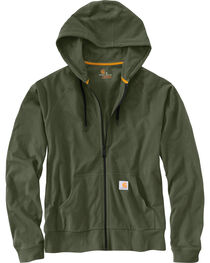 Carhartt Men's Moss Green Force Delmont Zip Front Hoodie , , hi-res